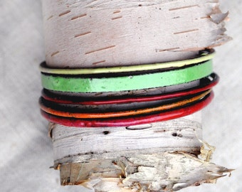 Handcrafted Bangle Set - 'Garden Variety' - 5 Piece Set - Bold Enamel Bracelets