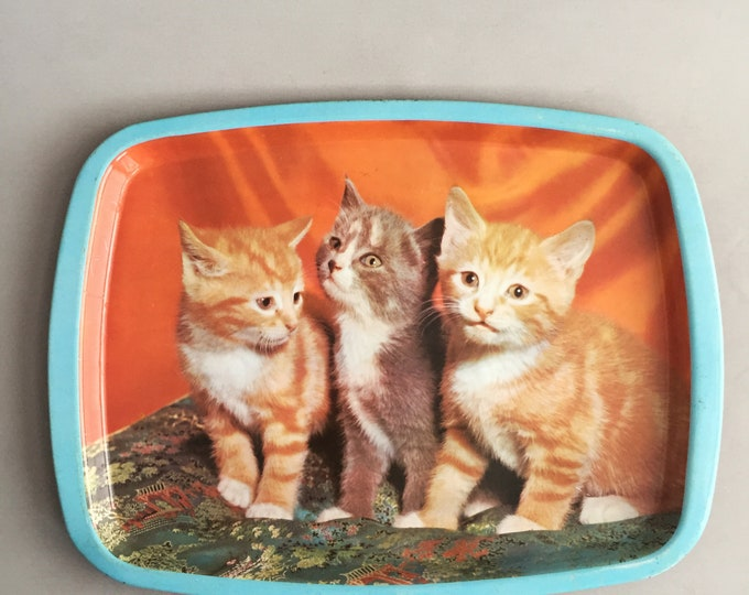 1960s Tin kitten tray