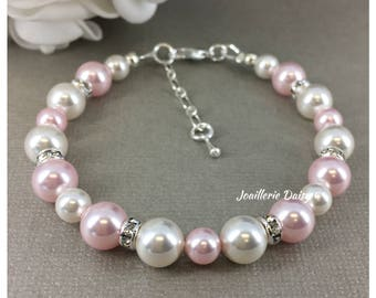 Bridesmaid Jewelry Pink Bracelet Bridesmaid Gift Jewelry Gift for Her Swarovski Rosaline Bracelet Blush Wedding