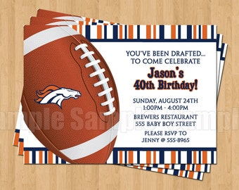 10 - PRINTED Denver Broncos Invitations with Envelopes Football Birthday Bachelor Party Sports Superbowl
