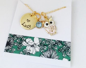 Owl Necklace, Little Girls Necklace, Personalized Owl Necklace, Kids Jewelry