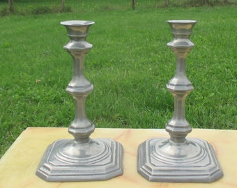 Vintage Couple Candle Holders Pewter Portugal 50s Mid Century