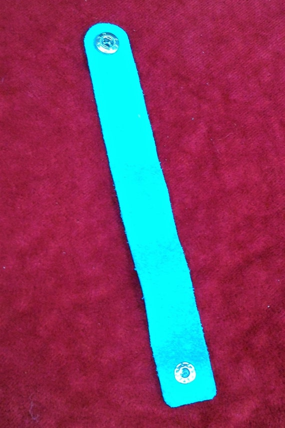 CLEARANCE Turquoise Leather Wrist Cuff Genuine Soft Flexible Leather Snap Closure, Turquoise Leather Wrist Wrap Cuff, Teal Leather Bracelet