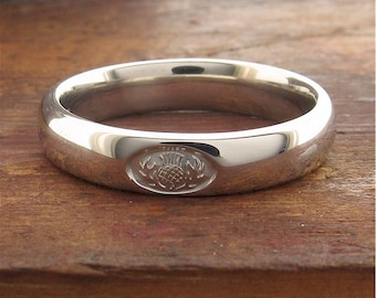 Scottish Thistle wedding ring in 9ct white gold on a 4mm wide court band for women or men