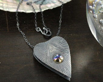 Ouija necklace -Planchette necklace - Sterling silver - Wicca necklace - Handmade