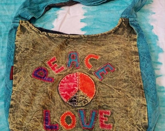 Peace & Love ~ Hippie Shoulder Purse / Bag ~ Stonewashed ~ Hobo Bag ~ Colorful and Embroidered ~ Vintage Style