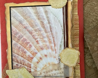 Sea shell sandy textured with vintage wallpaper handmade birthday card man or woman