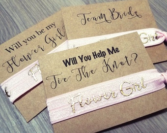 Will You Be My Flower Girl Hair Tie Favors | Bachelorette Party Favors | Bridesmaid Proposal | Pink Hair Tie Favors