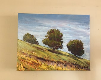 Landscape oil painting on gallery wrap canvas, Oak tree painting, California plein air painting,landscape oil painting