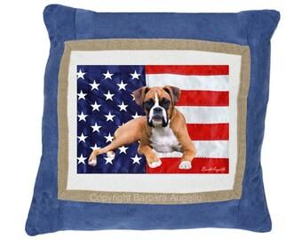 Boxer Dog Throw Pillow, Boxer Dog Gift, Boxer Dog Patriotic Pillow, Boxer Dog Art, Boxer Dog