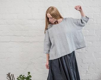 Loose linen top with drop shoulder sleeves / Oversize fall linen top