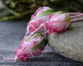 Lampwork Beads, Glass Flower Beads Made to order