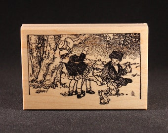 "Children Feeding Squirrels Rubber Art Stamp (3.7"" x 2.4"")"