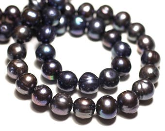 38cm 59pc env - cultured freshwater pearls wire balls 5-7mm iridescent black - 8741140026902