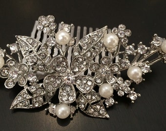 Wedding hair comb, Pearl bridal hair comb, bridal hair accessories, wedding hair accessories, crystal hair comb, flower comb, bridal jewelry