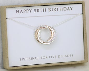 50th birthday gift, 50th birthday jewelry, 50th gift for sister jewelry, best friends necklace, 5th anniversary gift - Lilia