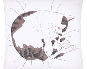 Cat Cushion Pillow 'Cat Nap' Grey Tabby and White Sleeping Kitten