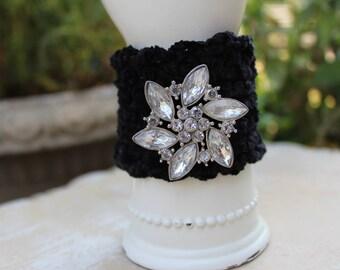 Dramatic Black Hand Crocheted Cuff with Sparkling Flower Gem