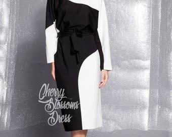 Black and white dress/ Midi dress/ Oversized dress/ Long sleeve dress/ Mid length dress/ Fall dress/ Plus size dress/ Fall dress