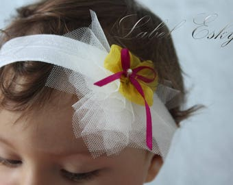 lime and fuchsia wedding or christening baby headband