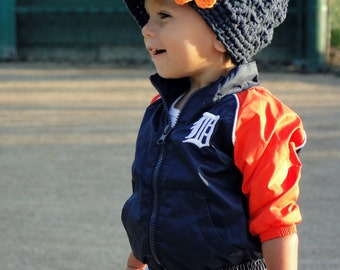Crochet Baby Hat, Detroit Tigers hat, crochet newsboy hat, team colors, hat for girls, baseball hat