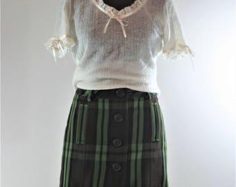 Vintage Mini Skirt Button Down Skirt Wrap Skirt Micro Mini Skirt High Waisted Skirt Pixie Skirt Plaid Skirt Tartan Skirt Green Skirt Wool