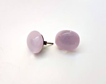 Pale Pink Fused Glass Stud Earrings