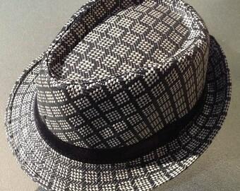 Beige & Black Fedora Hat.