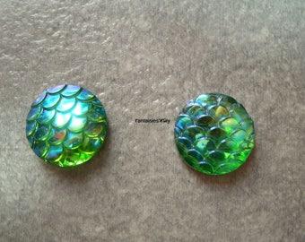 (CABR6) Set of 4 pretty cabochon resin Mermaid scales / dragon scale / reptile 14mm