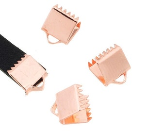 Pink tips x 4 6 mm gold tone Ribbon clamps