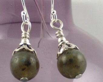 Golden Labradorite Drop Earrings