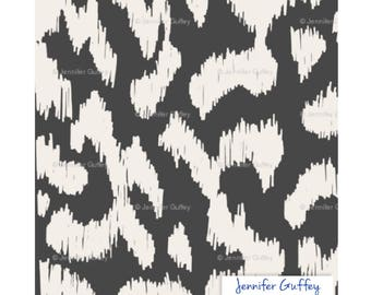 Ikat fabric by the yard, color Black, Print on Linen and Cotton Blend