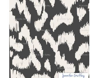 Tissu ikat par l'yard, couleur noir, impression sur toile de lin et coton mélangé