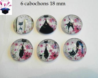 6 cat themed 18mm domed glass cabochons