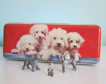 Poodle Tin with Pewter Poodle Figurines, Vintage Poodle Collectibles, Spoontiques Pewter Poodles, Poodle Lover Gift