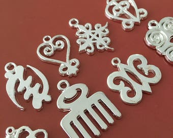 Silver Adinkra MIX- 2 of Each Adinkra charm (16 total)