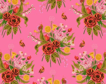 Heather Ross Sleeping Porch Wild Flowers, Pink Cotton Lawn, Pink Flower Bouquet Fabric, Floral, Rose Fabric, Dandelion Fabric
