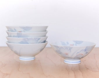 Set of 5 Japanese Porcelain Rice Bowls with Painted Floral Design
