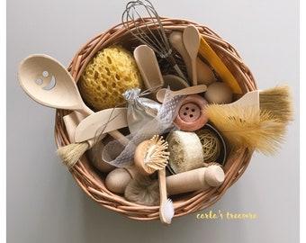 Carla's Treasure basket / 30 sensory rich items / heuristic play /sensory play / Montessori / educational wooden toy / gift