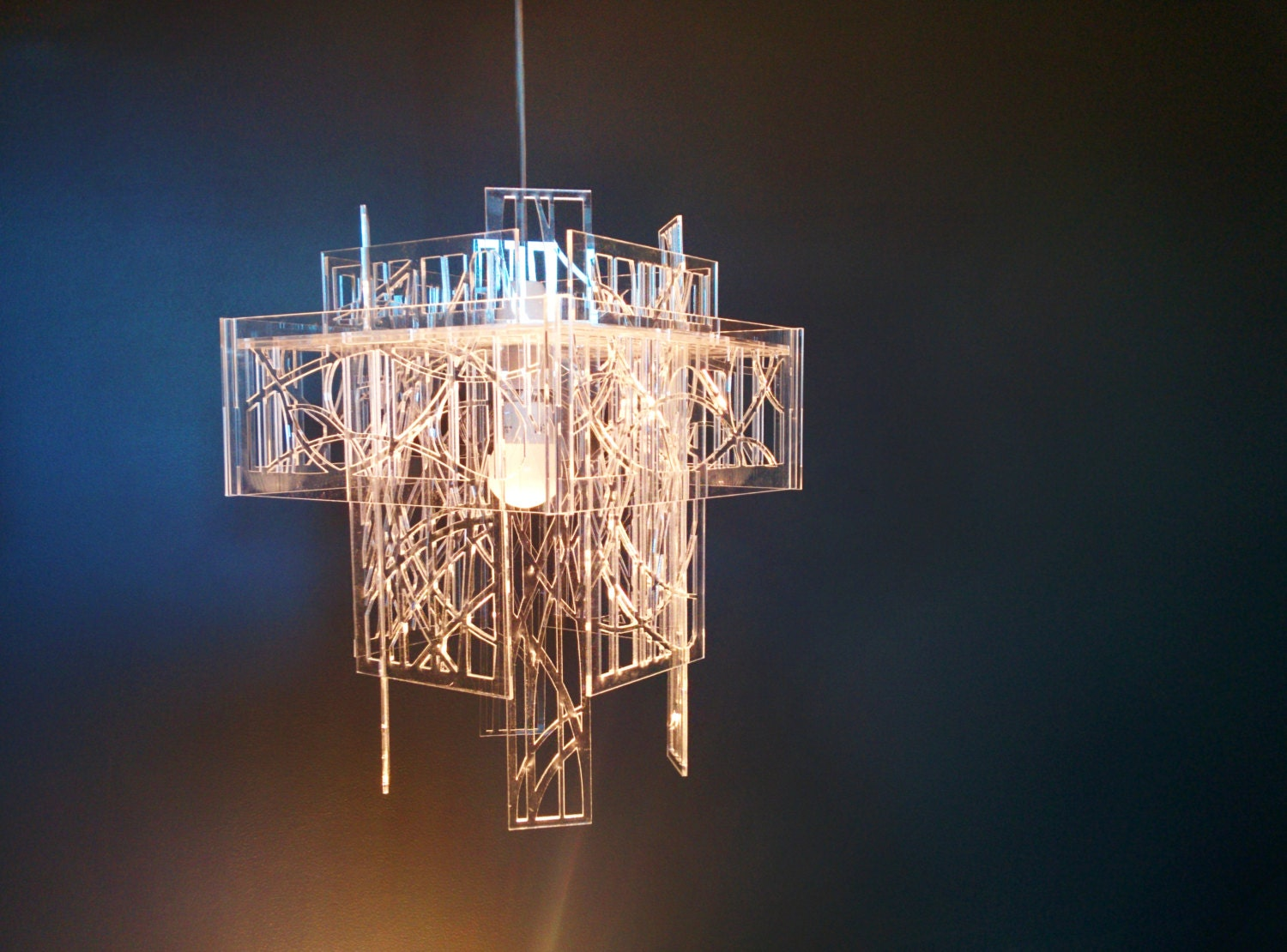 Recycled acrylic laser cut light shade chandelier zoom aloadofball Choice Image