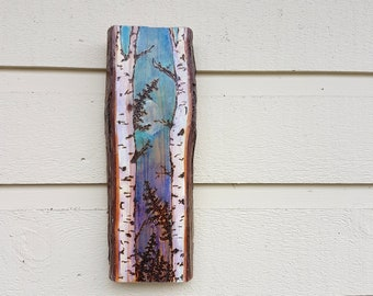 Birch and Pine trees pyrography hanging (Art only),Woodburned on live edge Cedar, pale moon shining at sunset, teal and purple watercolors