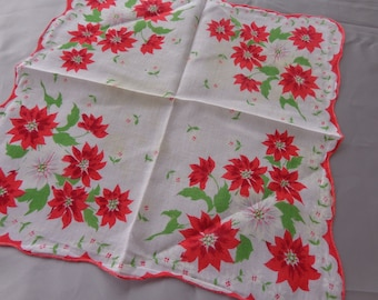 Vintage Christmas Kerchief.  Red poinsettias on white background - Fluted edges