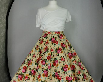 Yellow floral circle skirt