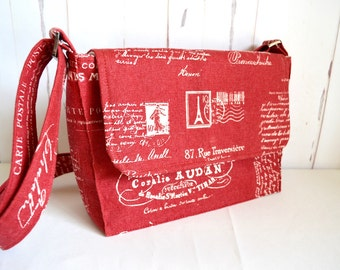 Red cross body bag, French script satchel, stylish small messenger with adjustable strap