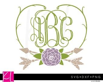 Floral Monogram svg, Monogram Frame svg, Monogram svg, Flower svg, Flower Monogram svg, Floral svg, Spring Monogram svg, Floral Frames svg