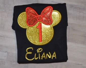 Embroidered Black and Red Minnie Mouse