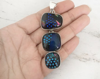 Dichroic glass jewelry, Dichroic 925 silver pendant, glass jewelry, dichroic glass, fused glass, handmade Sterling Silver dichroic jewelry