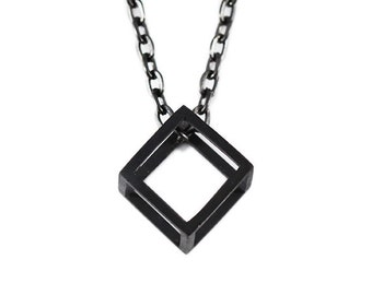 Geometric Black Jewelry Man Cube Pendant Mens Jewellery