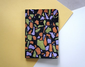 LIMITED EDITION A6 Hand Painted Notebook - Black Terrazzo Print