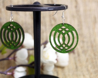 Felt Jewelry Earrings Modern Laser Cut- affordable bff gift, mothers day gift, girl friend gift, green jewelry, felt jewelry, light weight